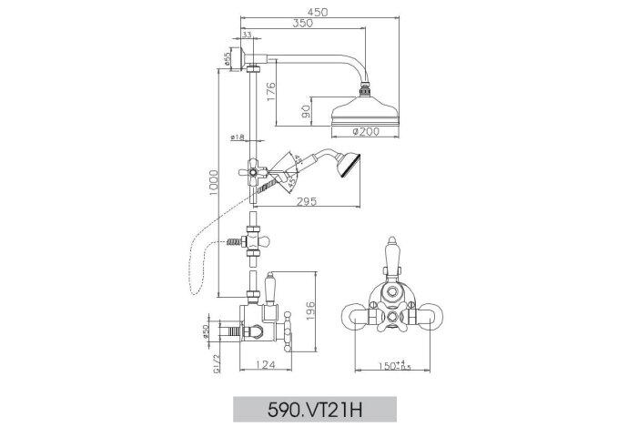 Huber Victorian Thermostatische Doucheset RVS 590VT21HNS