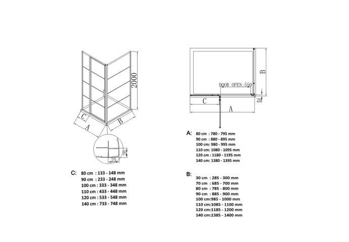 BWS Douchecabine Frame 80x70 cm 8 mm NANO Glas Mat Zwart Raster