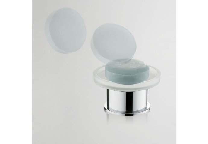 Ida vrijstaande glazen zeepschaal chroom