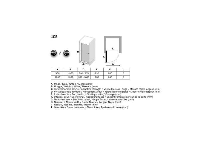 Nisdeur Sealskin 105 Get Wet Draaideur 100x193 cm 6 nm Helder Veiligheidsglas