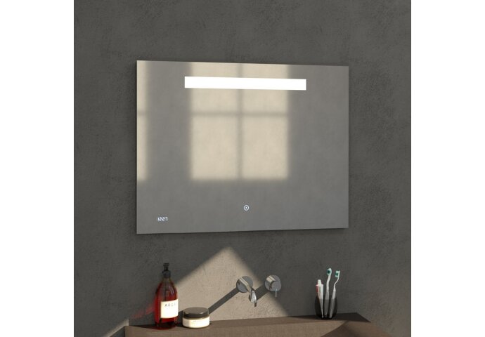 Badkamerspiegel met LED Verlichting Sanitop Clock 90x70 cm met Digitale Klok en Sensor