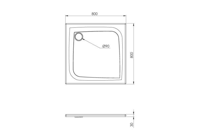 Douchebak Allibert Mooneo Vierkant Inbouw Bioplax 80x80 cm Grijs