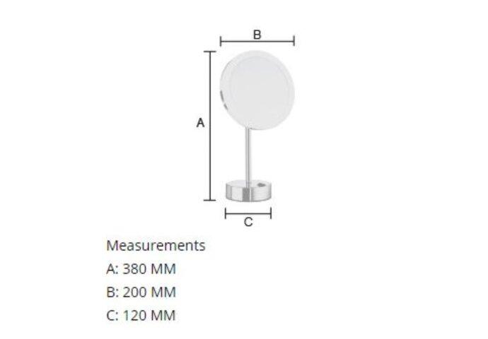 Vergrotingsspiegel Smedbo Outline Vrijstaand met LED PMMA Dual Light Zwart