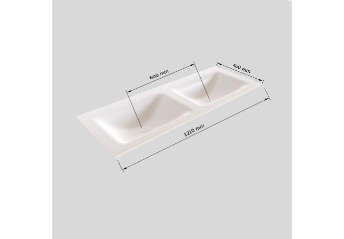 Badkamermeubel Solid Surface BWS Oslo 120x46 cm Dubbel Mat Wit (0 kraangaten)