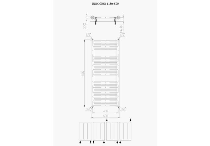 Designradiator Plieger Inox Giro 391 Watt Zijaansluiting 118x50 cm Inox-Look