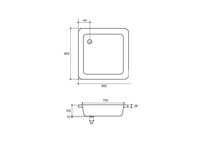 Douchebak VM Isifix 80x80x15cm Plaatstaal Vierkant Voor Inbouwmontage