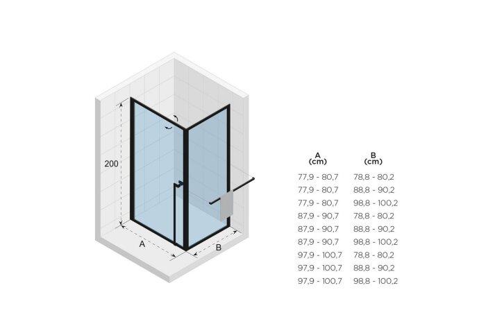 Douchecabine Riho Lucid GD201 Omkeerbaar Verstelbaar Aluminium 200x90x80 cm Mat Wit