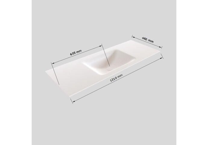 Badkamermeubel Solid Surface BWS Oslo 120x46 cm Midden Mat Wit (met 1 kraangat)