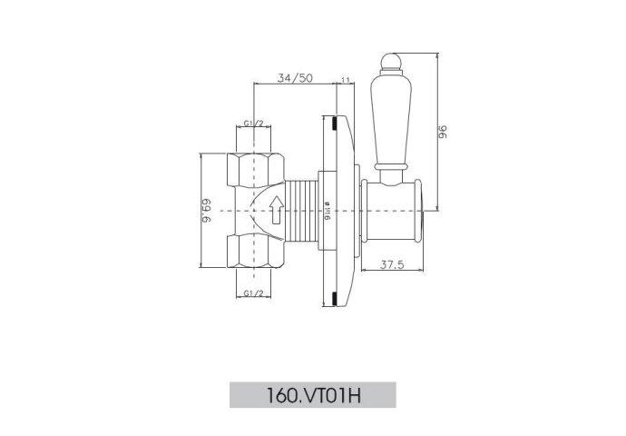 Huber Victorian inbouw Stopkraan Chroom-Goud 160VT01HCA