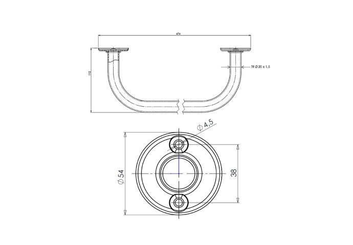 Handdoekhouder Sapho Aqualine 47.4x11.2 cm Wit