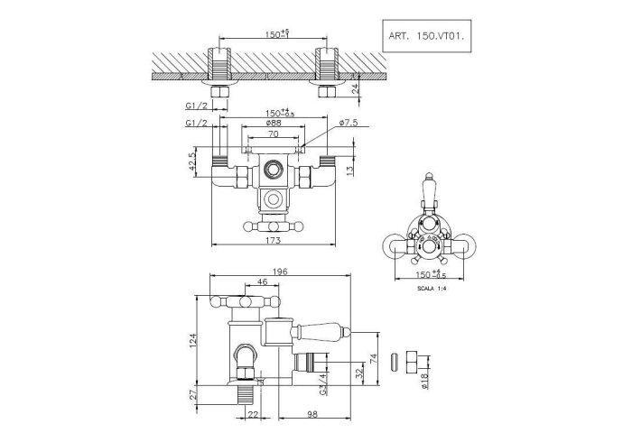 Huber Victorian Douchethermostaat Brons 150VT01HBA