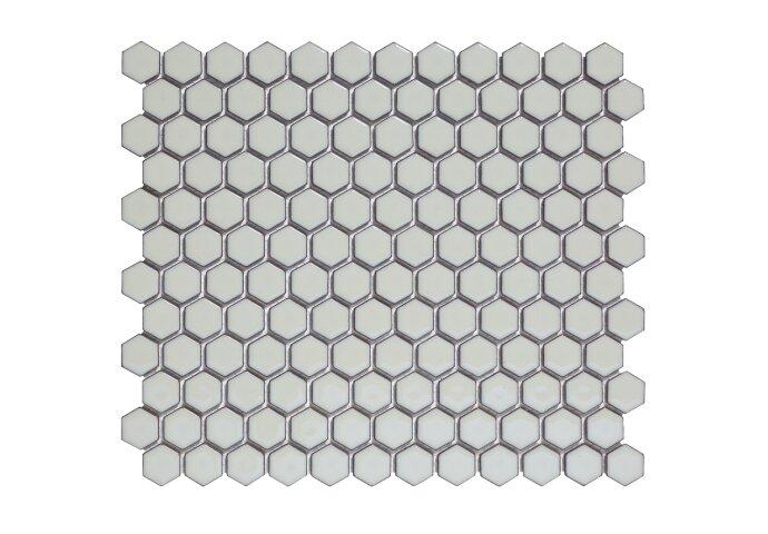 Mozaïek Barcelona 26x30 cm Geglazuurd Porselein Hexagon Glanzend Licht Grijs (Prijs Per 0.78 m2)