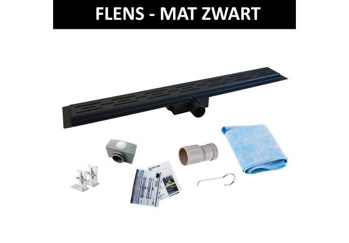 Mat Zwart RVS Douchegoot Flens met Uitneembaar Sifon MAT ZWART