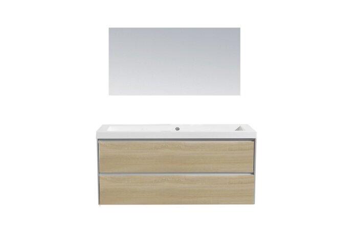 Badkamermeubel Sanilux PL 120 Greeploos Incl Spiegel En Wastafel Light Wood Multiplex 120x47x50 cm