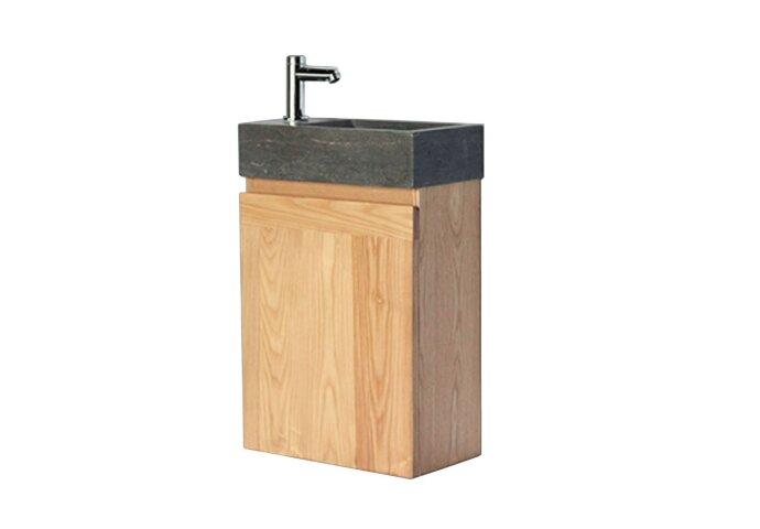 Fonteinkast Sanilux Wood Natuursteen Softclose deur 41x23x70cm Links draaiend