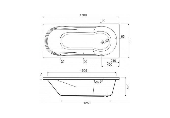 Inbouw Ligbad Wisa Fontana 170x75x41 cm Wit
