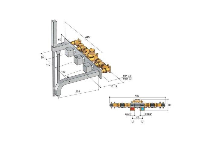 Badthermostaat Hotbath Bloke inbouw 2-weg met uitloop RVS Look