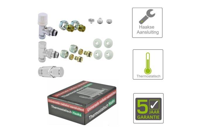BWS Luxe Thermostatische Radiator Aansluitset Haaks voor Zijaansluiting Chroom