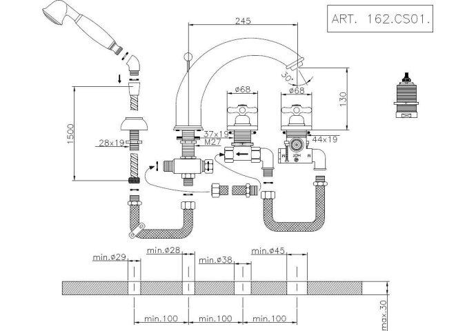 Huber Croisette 4-gats Badmengkraan Goud 162CS01HAG