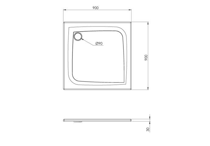 Douchebak Allibert Mooneo Vierkant Inbouw Bioplax 90x90 cm Grijs