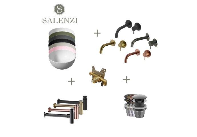 Salenzi Waskomset Unica Round 40x20 cm (Keuze Uit 7 Kleuren)