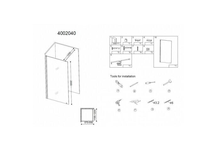 Inloopdouche Best Design Erico 60x200 cm NANO Coating 8mm Veiligheidsglas