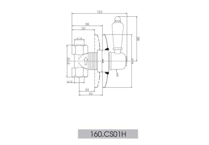Huber Croisette Inbouw Stopkraan RVS 160CS01HNS
