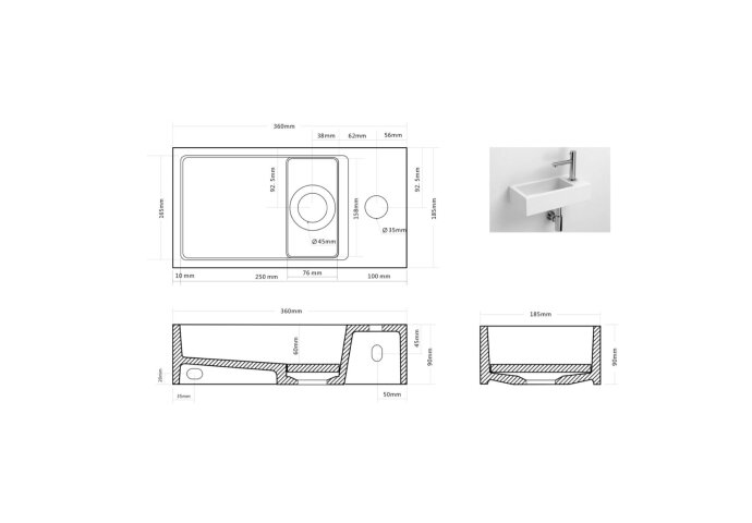 Fontein Differnz Solid Surface 36x18.5x9 cm Wit