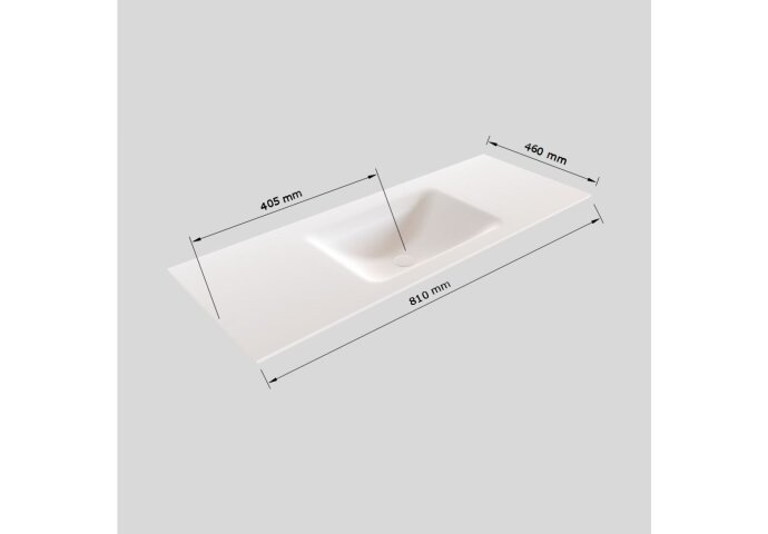 Badkamermeubel Solid Surface BWS Oslo 80x45 cm Mat Zwart Urban (1 kraangat)