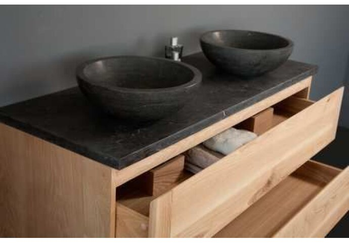 Badkamermeubelset Sanilux Wood Dynasty 120x47x50 cm Massief Eikenhout en Twee Waskommen