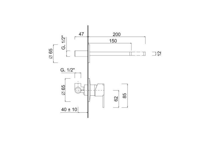 Inbouw Wastafelkraan Sanimex Giulini Eenhendel Luxe 20cm Mat Wit