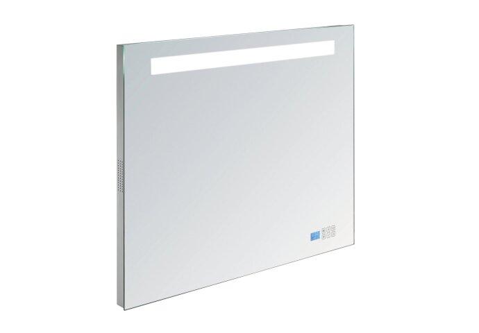 Spiegel Sanilux Mirror Deluxe 80x70x4.5cm Aluminium met TL verlichting + Radio touch sensor