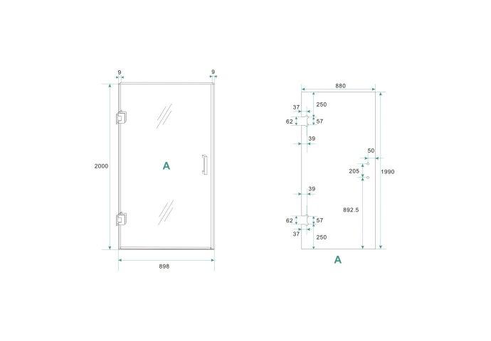 BWS Nisdeur Cura zonder Profiel 90x200 cm 8 mm NANO coating
