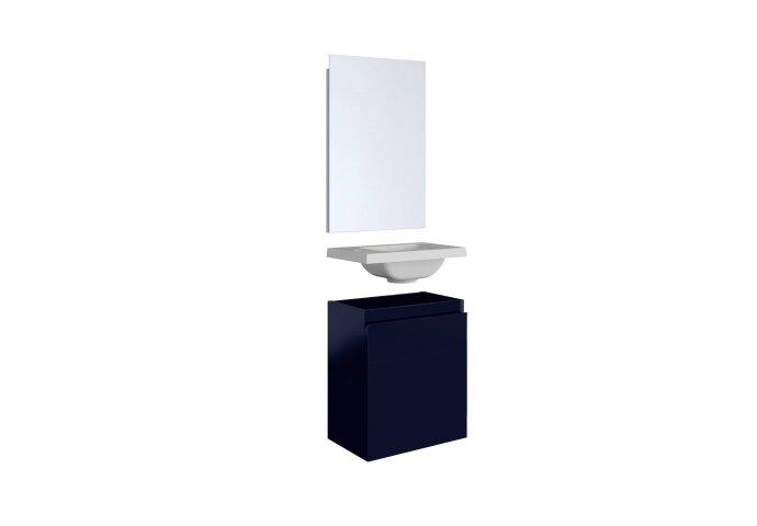 Fonteinset Allibert Porto Pack 40 Inclusief Spiegel Soft Close 40x51x25 cm Mat Nacht Blauw