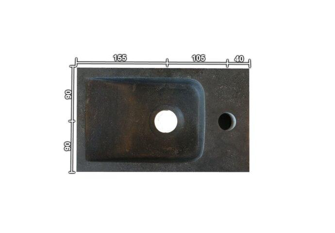 Hardstenen fontein Mini met kraangat links 18x30x8 cm (Fonteinen)