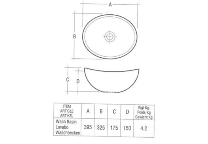 Keramische opbouw waskom Scarabeo Scale ovaal 39x32x17.5cm wit