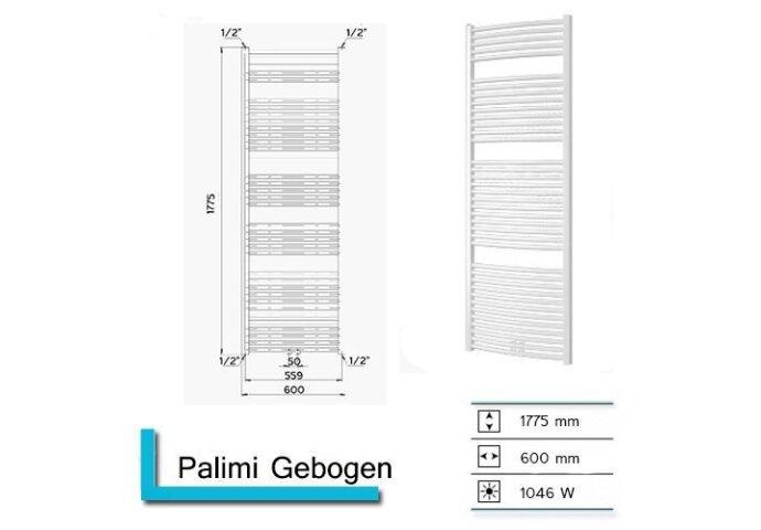 Handdoekradiator Palimi Gebogen 1775 x 600 mm Wit structuur
