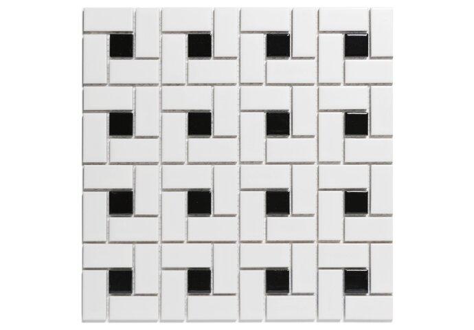 Mozaïektegel The Mosaic Factory Paris Pinwheel 23x48 en 23x23 mm Porselein Wit/Zwart