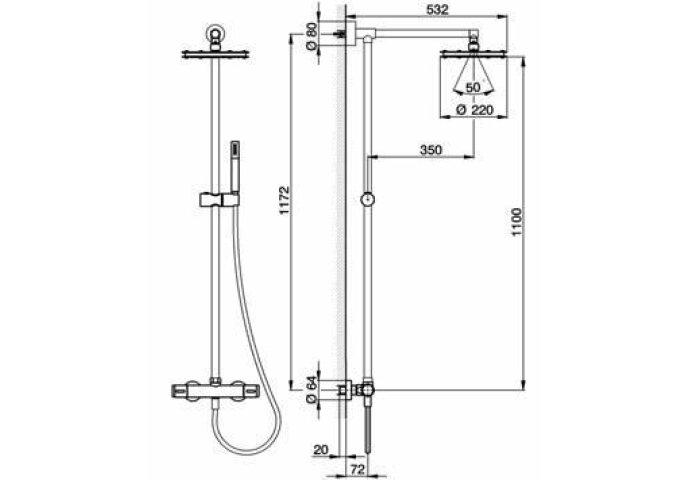Cisal Less thermostatisch doucheset LSC7801 chroom