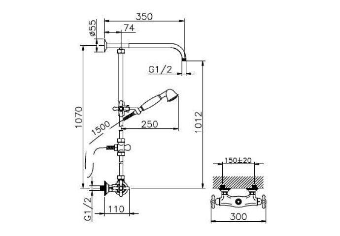 Huber Croisette Thermostatische Doucheset Chroom/Goud 399.CS01H.CA
