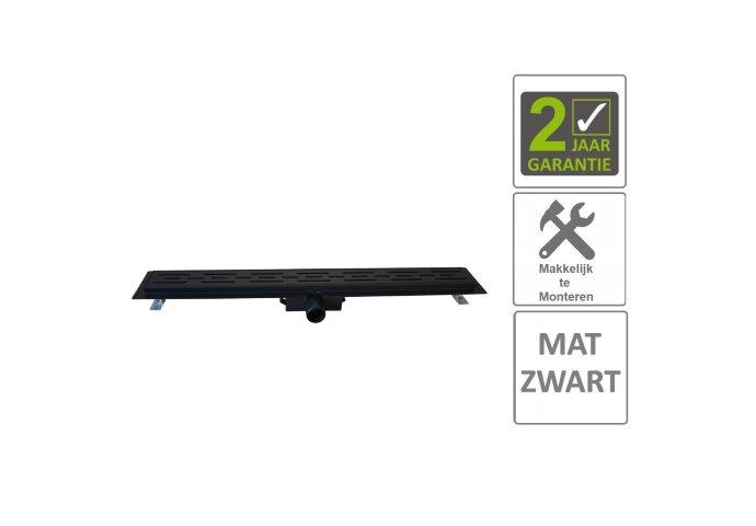 BWS Douchegoot Flens Met Uitneembaar Sifon 80x7x6.7cm RVS Mat Zwart