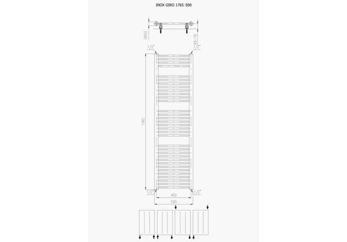Designradiator Plieger Inox Giro 587 Watt Zijaansluiting 176,5x50 cm Inox-Look
