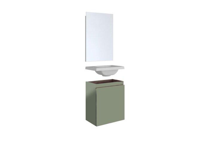 Fonteinset Allibert Porto Pack 40 Inclusief Spiegel Soft Close 40x51x25 cm Kopergroen
