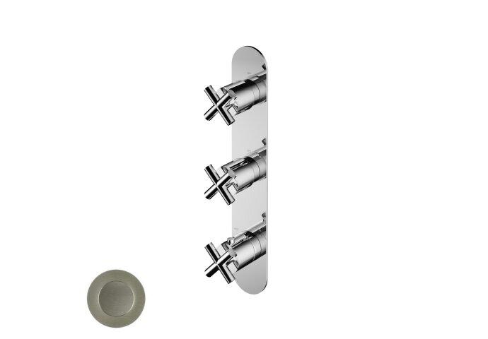 Douchethermostaat Hotbath Chap Inbouw 2 Stopkranen Verticaal Geborsteld Nikkel