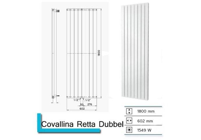 Designradiator Plieger Cavallino Retto Dubbel 1549 Watt Middenaansluiting 180x60,2 cm Pearl Grey