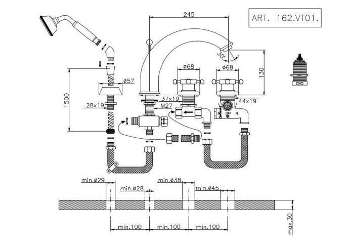 Huber Victorian 4 gats Thermostatische Badkraan met Douchegarnituur Goud 162VT01HAG