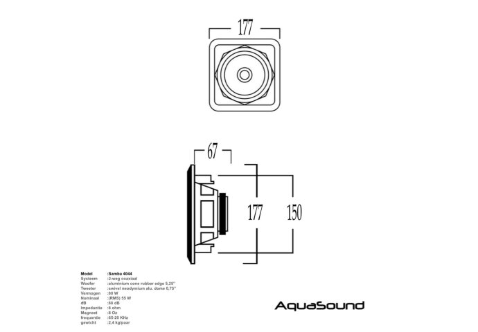 Speakerset Aquasound Samba (Draaibare Tweeter) Vierkant 177x177 mm Mat Zwart
