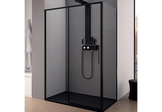Douchecabine Lacus Torcello Schuifdeur met Zijwand 140x200 cm 6 mm Helder Glas Zwart Profiel