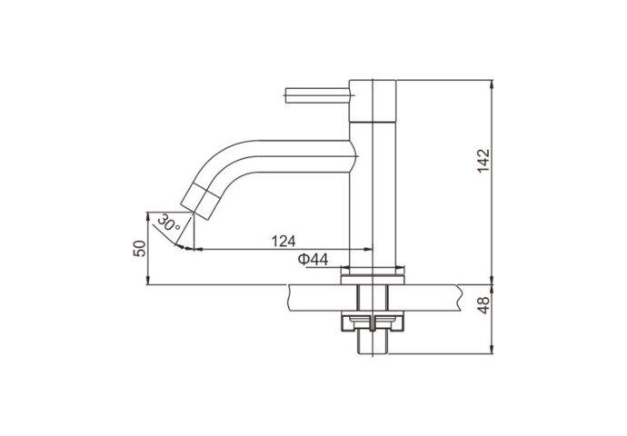 BWS Varuni Toiletkraan 1/2'' RVS 304 Met Keramisch Binnenwerk 1