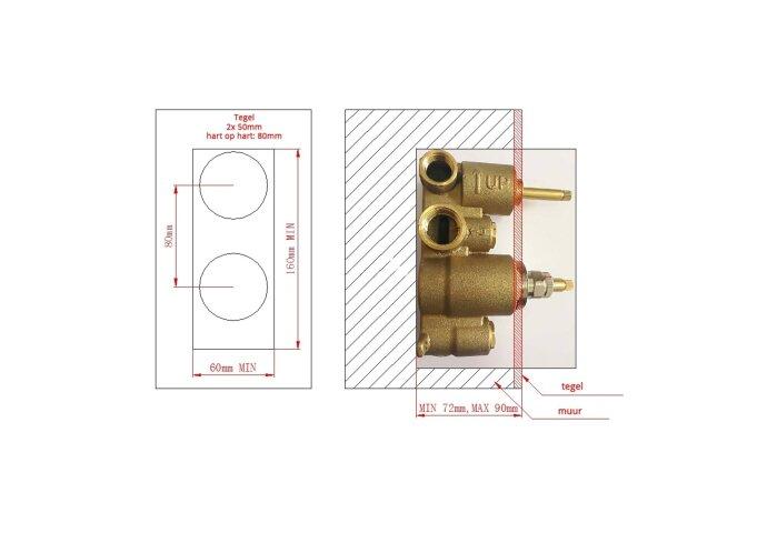 Inbouw Douche Thermostaat BWS Exclusive 304 RVS (Inclusief inbouwdeel)